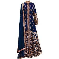 Aryan Fashion Women's Silk Embroidery Semi-Stitched Lehenga Choli (Blue)