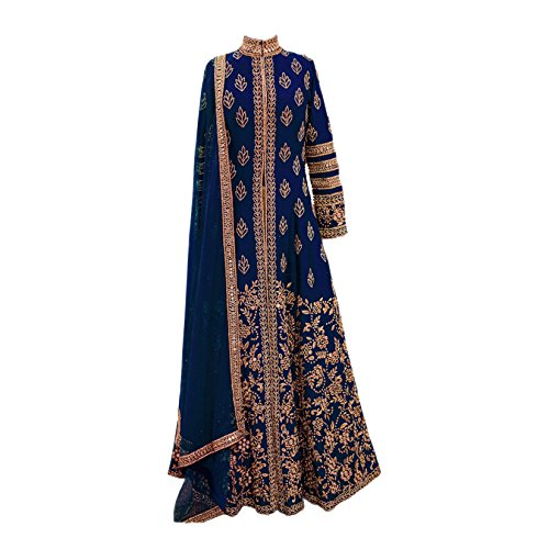 Aryan Fashion Women\'s Banglori Silk Embroidered Semi-stitched Lehenga Choli E5-WPOW-TSTI_Blue and Golden_Free Size