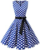 Bridesmay Donna Anni '50 Abiti Vintage V-Neck Retro Cocktail Audrey Vestito Royal Blue White DOT S