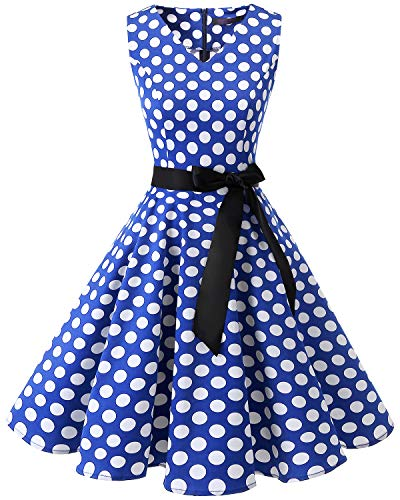 bridesmay 1950er Vintage Cocktailkleid Rockabilly V-Ausschnitt Kleid Retro Schwingen Kleid FaltenrockRoyal Blue White Dot L