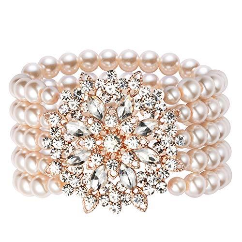 ArtiDeco 1920s Armband Perlen Damen Gatsby Kostüm Zubehör Blinkende Kristall Armreif 20er Jahre Accessoires für Damen (Stil 4-Rose Gold) (Armreif Perle Armband)