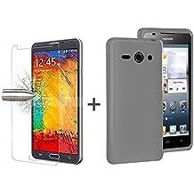 TBOC® Pack: Funda de Gel TPU Negra + Protector Pantalla Vidrio Templado para Huawei Ascend Y530. Funda de Silicona Ultrafina y Flexible. Protector de pantalla Resistente a Golpes, Caídas y Arañazos.
