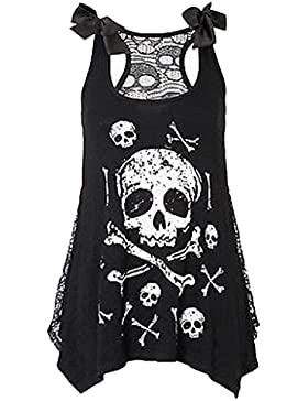 Tops para Mujeres - Rcool - Camisas Sin Mangas de la Camiseta de Remiendo Flojo Irregular del Cordón de la Impresión...