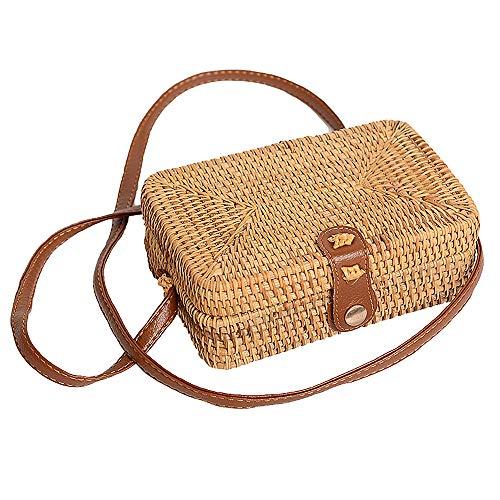 SQUAREDO Handgewebte Rattantasche Handgefertigte Bali Ata Stroh Gewebte Circle Crossbody Handtasche Schultertasche Aus Leder Für Damen