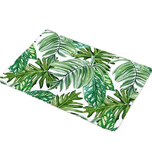 LZYMLG Grüne Pflanze Muster Home Fußmatten Schlafzimmer Fußmatten Küche Bad wasserdichte Matte A_1 40X60Cm