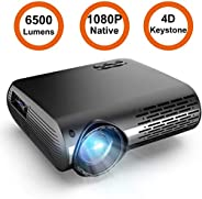 "Projector,Full HD 1080P Projector Support 4K, 6500 lumens 300"" Home Theater Projector, 8000:1 Contrast Ra"