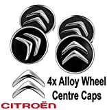 4x Citroen lega ruota centro coprimozzi in nero C1C3C4DS360mm più modelli