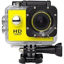 KIPTOP Videocámara de Acción 12MP, HD, 1080P, Gran Angular, Sumergible hasta 32m, Incluye múltiples accesorios (amarillo)