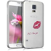 kwmobile Funda transparente para Samsung Galaxy S5 / S5 Neo / S5 LTE+ / S5 Duos con diseño IMD y marco de silicona TPU con parte trasera de plástico - transparente blanda para móvil carcasa protectora bumper Diseño PS I love you