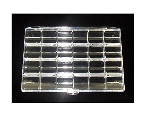 Perlenbox Sortierbox mit 24 Fächern WEIß Bastelzubehör Dosen Perlenkasten B11A (Weihnachten Acryl Nail Art)