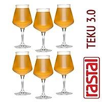 Rastal - 6 verres de dégustation de bière universelle TEKU 3.0 - 42 cl. (14,8 oz.) - Universal Tasting Goblet BEER - TEKU 3.0 - Capacité de 42,5 cl - RASTAL Le premier verre MADE IN ITALY pour la dégustation universelle de bières Artisanat - En paque...