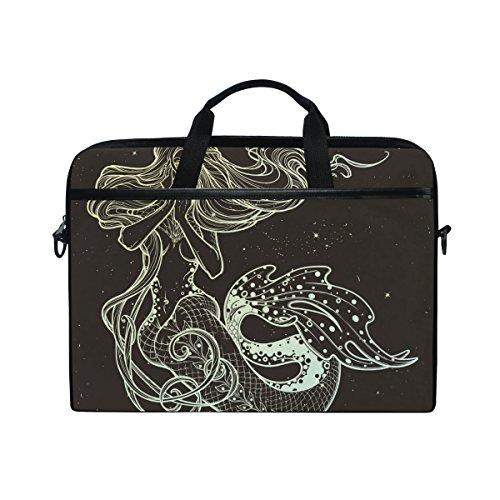 Laptoptasche Meerjungfrau-Mädchen Canvas Stoff Laptop Tasche Bussiness Handtasche mit Schultergurt für Damen und Herren ()