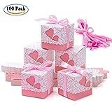 Geschenkboxen Hochzeit – Meersee 100 Schachtel Geschenkbox Gastgeschenk Kartonage klein Süßigkeiten Kartons Bonboniere Kasten, Tischdeko Favous Box für Hochzeit Party Feier (Rosa)