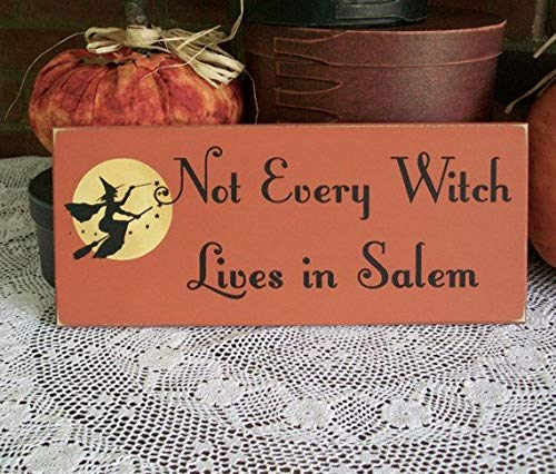 C-US-lmf379581 Halloween Sign Witch Sign Not Every Witch Lives in Salem Moon and Witch Gift for Her Wood Sign