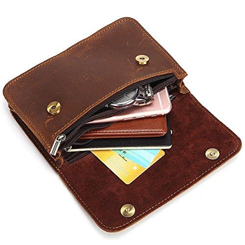 DXL-Men's Bags Herren Gürteltasche Double Three-Zip Covers Die erste Schicht Crazy Horseskin Multi-Funktions-Taille Taschen Herrentaschen (Color : Brown, Size : S) (Haut Top Zip)