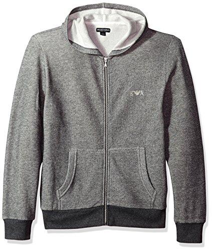 Emporio Armani Herren Marled Zip Logo Loungewear Hoodie, Grau, Large (Loungewear Pjs)