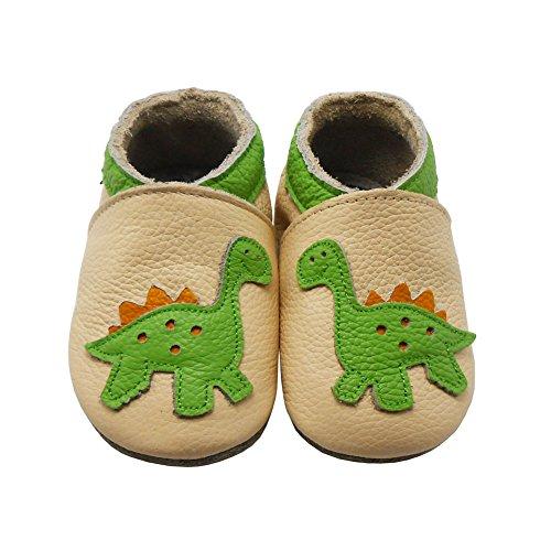 Sayoyo Dinosaurier WeichesLeder Lauflernschuhe Krabbelschuhe Babyschuhe Beige