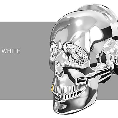 WHQ Mini schädel Kopf Lautsprecher blenden led Feuer tragbare Bluetooth bass Stereo für Halloween einzigartige Design,Weiß -
