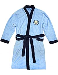 Mens Official Manchester Man City MCFC Fleece Dressing Gown Bathrobe Sizes M L XL