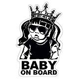 Baby on Board Aufkleber 18x11cm Auto Sticker -Finest Folia Autoaufkleber UV- Wetterfest Wasserfest Hangover (Mädchen, Baby on Board Krone)