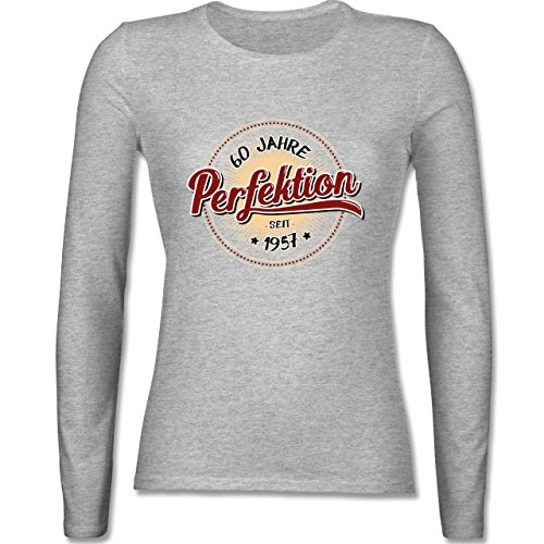 Geburtstag - 60 Jahre Perfektion seit 1957 - tailliertes Longsleeve / langärmeliges T-Shirt für Damen Grau Meliert