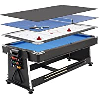Mightymast Leisure 7ft Full-Size REVOLVER 3-in-1 Multigames Table Rotating To Include Pool, Air Hockey & Table Tennis Including All Accessories