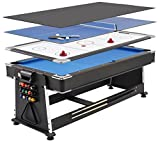 Mightymast Revolver 3-in-1 Pool/Air Hockey/Table Tennis Table - Black, 7 ft