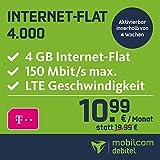 mobilcom-debitel Internet-Flat 4.000 im Telekom-Netz (10,99 EUR monatlich, 24 Monate Laufzeit, 4 GB Internet-Flat, LTE mit max. 150 MBit/s, EU-Roaming-Flat, Triple-Sim-Karten)