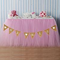 vLoveLife 1 White Tulle Tutu Table Skirt + 1 Mr Love Mrs Burlap Banner Flags Wedding Tableware TableCloth Wedding Party Decorations Favors - 100cm x 80cm