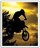 JP London poslt0045ustrip Lite Abnehmbare Wand Aufkleber Aufkleber Wandbild Extreme Motocross AT Dusk gelb Dirt Rider, 19.75-inch X 24