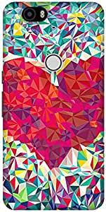 The Racoon Lean printed designer hard back mobile phone case cover for Huawei Nexus 6P. (Love trian)
