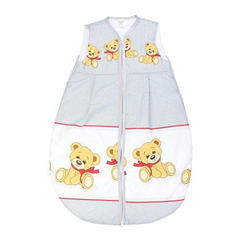 TupTam Baby Schlafsack Wattiert ohne Ärmel ANK001, Farbe: Teddybär Zickzack Grau, Größe: 104-110