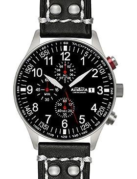 Astroavia Herren-Armbanduhr Chronograph Quarz Leder N57L2