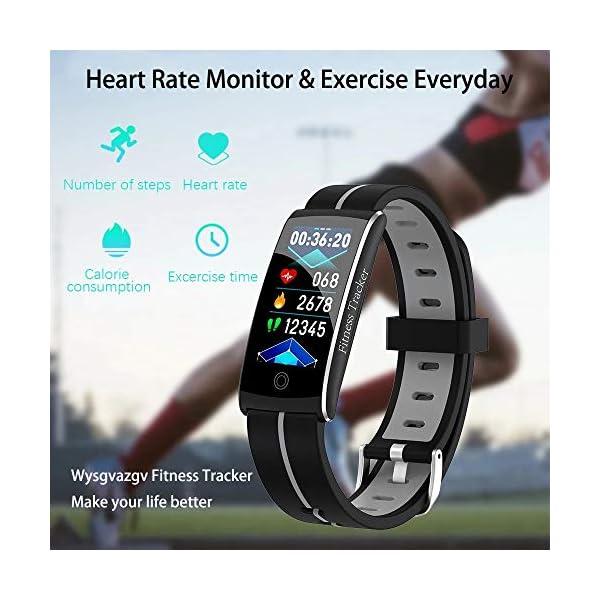 Wysgvazgv Fitness Tracker Reloj pulsera Activity Tracker pulsómetro de muñeca monitor del sueño presión sanguigna IP68… 4
