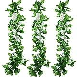 Famibay Künstliche Blume mit Rose, 39 Seide Head Hnaging Girlande Blumen Pack 3 Für Hochzeit (A-Weiß, 3 PCS)