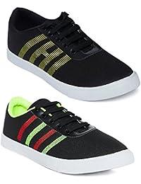 Long Walk Stylish Pack Of 2 Canvas Sneaker For Men
