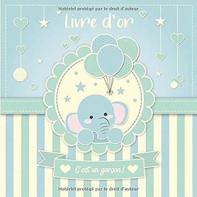 Livre d'Or: 100 Pages Format Carre - Couverture Souple Glacé - Elephant  Bleu Vert