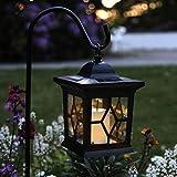 3in1 LED Solar-Laterne mit Erdspieß - Tischlampe, Pendelleuchte & Wegeleuchte | Kerze Gartenleuchte für Terrasse Balkon Wiese Außen Outdoor Hof Rasen Blumenbeet Party | Akku, Batterie, Schutzart IP44
