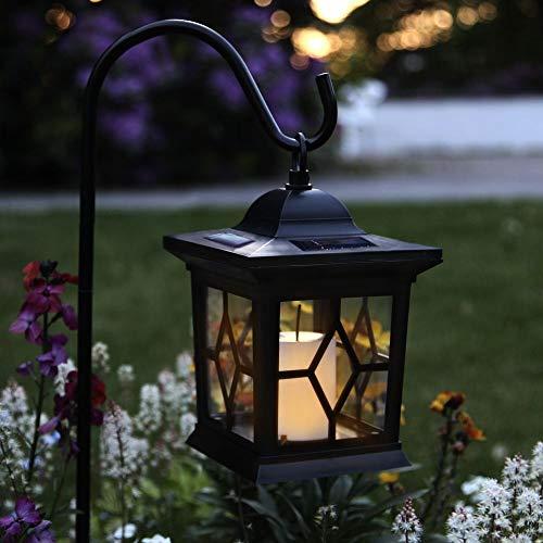 3in1 LED Solar-Laterne mit Erdspieß - Tischlampe, Pendelleuchte & Wegeleuchte | Kerze Gartenleuchte für Terrasse Balkon Wiese Außen Outdoor Hof Rasen Blumenbeet Party | Akku, Batterie, Schutzart IP44 -