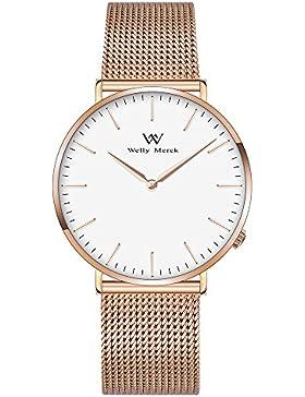 Welly MERCK Damen Luxus Armbanduhr Minimalist Quarzwerk Saphirglas Analog Armbanduhr mit Rose Gold Edelstahl 18...