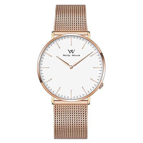 Welly Merck Damen Armbanduhr Schweizer Uhrwerk Luxus Minimalistische Saphirglas Ultra Dünne 18mm Roségold Edelstahl Mesh Armbänder 36mm Weiß Zifferblatt 5ATM Wasserdicht