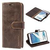 Mulbess Ledertasche im Ständer Book Case / Kartenfach für Samsung Galaxy Note 2 Tasche Hülle Leder Etui,Vintage Braun