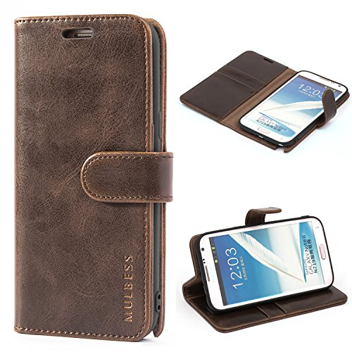 Mulbess Custodia per Samsung Galaxy Note 2, Cover Samsung Galaxy Note 2 Pelle, Flip Cover a Libro, Custodia Portafoglio per Samsung Galaxy Note 2, Vintage Marrone