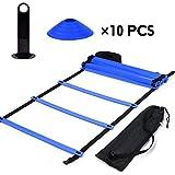 GLOGLOW Escalera de agilidad velocidad escalera velocidad agilidad tren Kit de escalera de agilidad, escalera de entrenamiento de velocidad 9Ft escalera plana + 10 unidades de conos de disco para la coordinación, calzado, entrenamiento atlético, azul