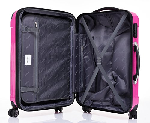BEIBYE Zwillingsrollen 2048 Hartschale Trolley Koffer Reisekoffer in M-L-XL-Set in 14 Farben (M, PINK) - 8