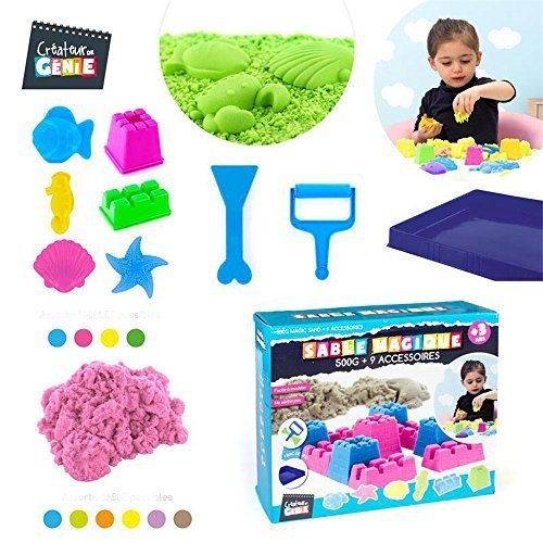 sable-magique-500g-9-accessoires-bac-de-rangement-rigolo-et-colore-ne-seche-pas-sable-violet
