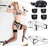 SAILERLY BDSM Fetisch Unter Bett Restraint Kit mit Handschellen Fußfesseln Bondage, Bettfessel Sexspielzeug für Einsteiger und Erfahr (Schwarz)