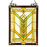 Chloe Beleuchtung tiffany-glass Mission Fenster Panel, Golds, Gelbtöne, orages, Multi, One size