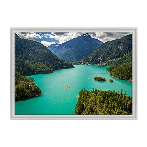 Bild auf Leinwand Canvas-Gerahmt-fertig zum Aufhängen-Diablo Lake North Cascades National Park-USA Amerika Dimensione: 70x100cm C - Colore Bianco Contemporaneo