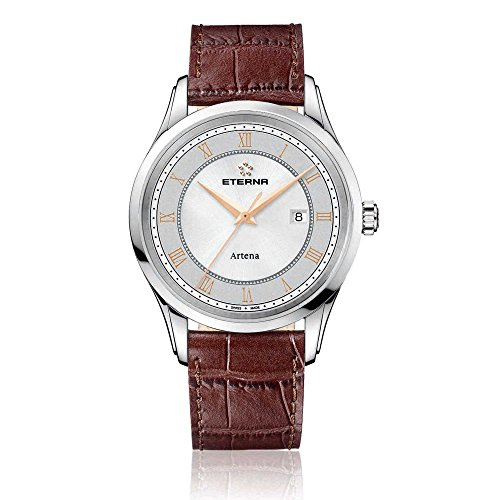 Eterna Men's Quartz Watch with Grey Dial Analogue Display and Brown Leather Strap 2520.41.56.1259